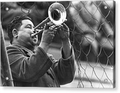 Acrylic Print featuring the photograph Jazz Behind A Fence by Emanuel Tanjala