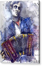 Jazz Concertina Player Acrylic Print by Yuriy  Shevchuk