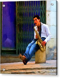 Acrylic Print featuring the photograph Jazz In The Street by David Dehner