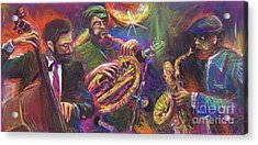Jazz Jazzband Trio Acrylic Print by Yuriy  Shevchuk
