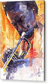 Jazz Miles Davis 9 Red Acrylic Print by Yuriy  Shevchuk