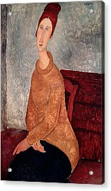 Jeanne Hebuterne In A Yellow Jumper Acrylic Print by Amedeo Modigliani