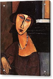 Jeanne Hebuterne With Hat And Necklace Acrylic Print