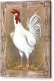 Jed The Rooster Acrylic Print by Linda Mears