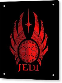 Jedi Symbol - Star Wars Art, Red Acrylic Print