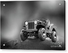 Acrylic Print featuring the photograph Jeep Bw by Charuhas Images