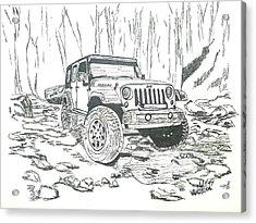 Jeep Rubicon Gel Pen Sketch Acrylic Print