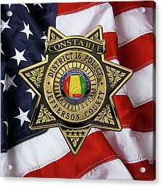 Jefferson County Sheriff's Department - Constable Badge Over American Flag Acrylic Print