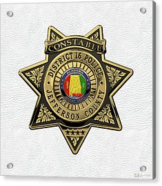Jefferson County Sheriff's Department - Constable Badge Over White Leather Acrylic Print