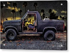 Jeff's Jeep And The Fallen Leaves Acrylic Print by Bob Winberry