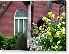 Acrylic Print featuring the photograph Jekyll Island Chapel And Flowers by Bruce Gourley