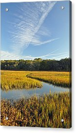 Jekyll Island Marsh High Tide And Sky Acrylic Print