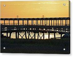 Jekyll Island Pier At Sunset Acrylic Print by Bruce Gourley