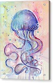 Jelly Fish Watercolor Acrylic Print by Olga Shvartsur