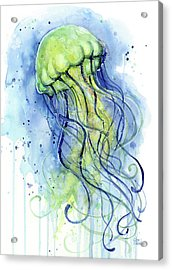 Jellyfish Watercolor Acrylic Print