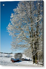 Jenne Farm Winter In Vermont Acrylic Print by Edward Fielding
