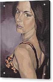 Acrylic Print featuring the painting Jenny In Black by Stephen Panoushek