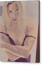 Acrylic Print featuring the painting Jenny In Purple by Stephen Panoushek