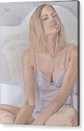 Acrylic Print featuring the painting Jenny In White by Stephen Panoushek