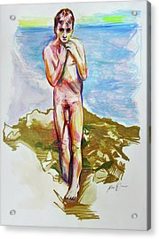 Acrylic Print featuring the painting Jeremy At The Beach by Rene Capone