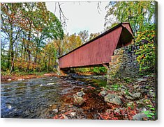 Jericho Covered Bridge In Maryland During Autumn Acrylic Print