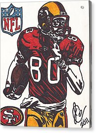 Acrylic Print featuring the drawing Jerry Rice by Jeremiah Colley
