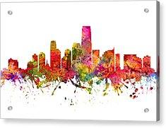 Jersey City Cityscape 08 Acrylic Print by Aged Pixel