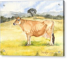 Acrylic Print featuring the painting Jersey Cow by Sandra Phryce-Jones