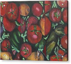 Jersey Tomatoes With A Dash Of Abstract Acrylic Print