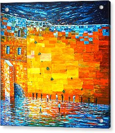 Acrylic Print featuring the painting Jerusalem Wailing Wall Original Acrylic Palette Knife Painting by Georgeta Blanaru