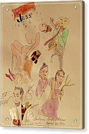 Jess' Dance, The Signer, And The Announcer Using Short Hand Acrylic Print by Barb Greene mann