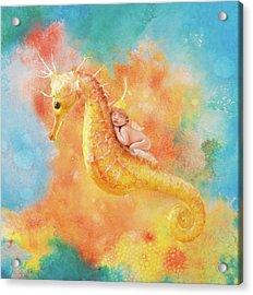 Jessabella Riding A Seahorse Acrylic Print