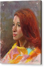 Jessica Portrait Demo Acrylic Print by Anna Rose Bain