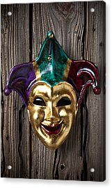 Jester Mask Hanging On Wooden Wall Acrylic Print