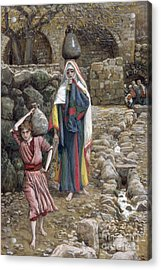 Jesus And His Mother At The Fountain Acrylic Print