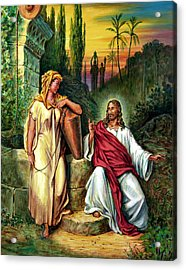 Jesus And The Woman At The Well Acrylic Print by John Lautermilch