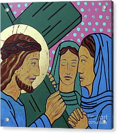 Jesus And The Women Of Jerusalem Acrylic Print by Sara Hayward
