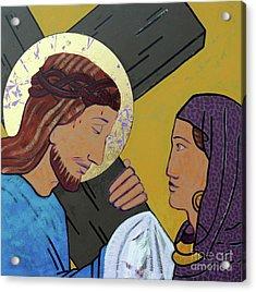 Jesus And Veronica Acrylic Print by Sara Hayward