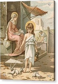 Jesus As A Boy Playing With Doves Acrylic Print by John Lawson