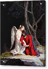 Jesus At Gethsemane Acrylic Print by Rebecca Poole