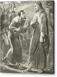 Jesus Betrayed By Judas Acrylic Print