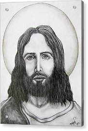 Acrylic Print featuring the drawing Jesus Christ by Michael  TMAD Finney