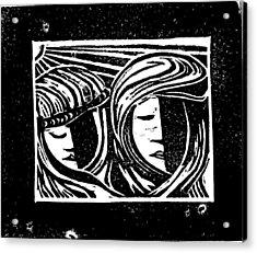 Jesus Comforts The Women Acrylic Print by Lars Lindgren