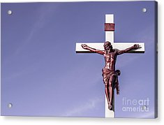 Jesus Crucifix Against The Sky Acrylic Print by Gary Whitton
