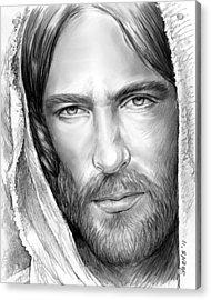 Jesus Face Acrylic Print by Greg Joens