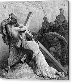 Jesus Falling Beneath The Cross By Gustave Dore  Engraved Acrylic Print