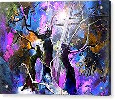 Jesus From Cross Acrylic Print by Miki De Goodaboom
