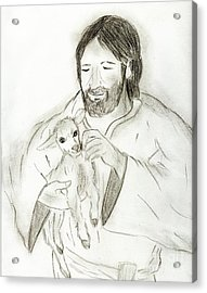 Jesus Holding Lamb Acrylic Print by Sonya Chalmers