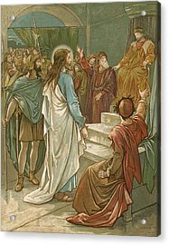 Jesus In Front Of Pilate Acrylic Print by John Lawson