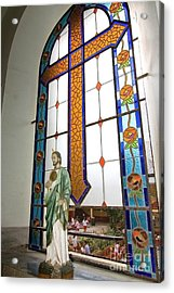Jesus In The Church Window And School Girls In The Background Acrylic Print by Sven Brogren